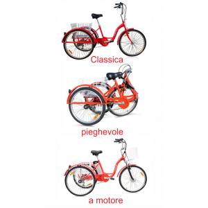 Triciclo Elettrica per anziani, disabili, a pedalata assistita a motor